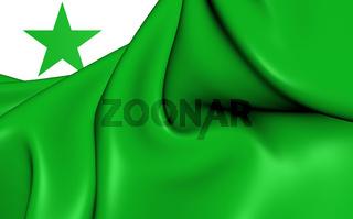 3D Flag of the Esperanto. Close Up.