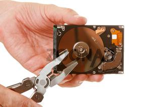 Open hard drive in hand