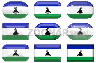 nine glass buttons of the Flag of Lesotho