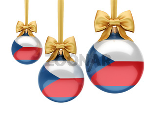 3D rendering Christmas ball with the flag of Czech Republic