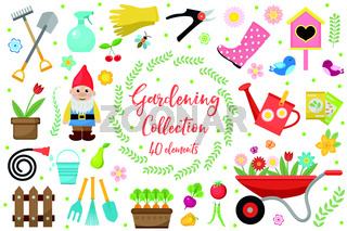 Gardening icons set, design elements. Garden tools and decor collection, isolated on a white background. Vector illustration.