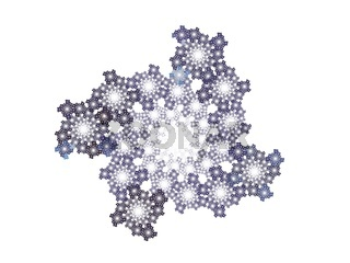 Abstract fractal with purple floral pattern on a white background