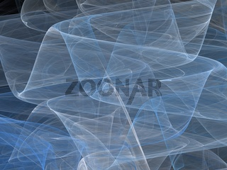 3D rendering with blue abstract fractal curves with transparent waves