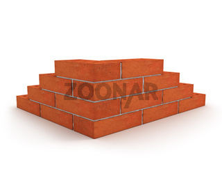 Corner of wall made from orange bricks isolated on