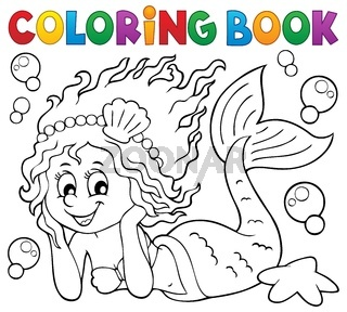 Coloring book happy mermaid