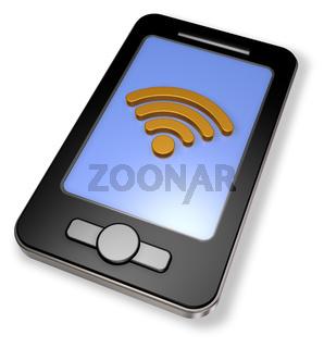 wlan symbol auf dem display eines smartphones - 3d rendering