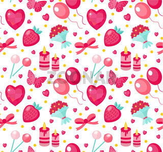 Cute seamless pattern Valentines day with strawberries, heart, flower, butterfly, ribbon. Love, romance endless background, texture, wallpaper. Flat, cartoon style. Vector illustration.