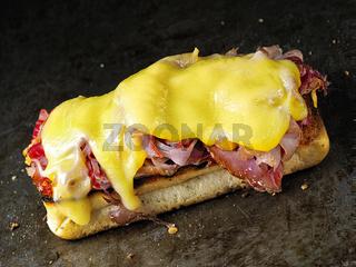 rustic french croque monsieur sandwich