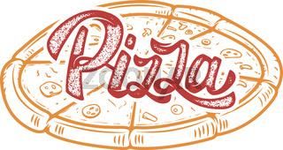 Pizza hand written lettering logo, label, badge. Emblem for fast food restaurant, cafe. Isolated on white background. Vector illustration.