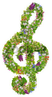Musical green Easter clef