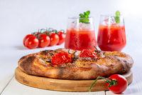 Italian thin bread with onions.