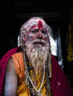 A sadhu during Shivaratri festival in Kathmandu, Nepal