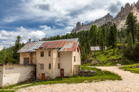 Ruins of the old Rifugio Cardeccia, Vajolet valley, Catinaccio group, Trentino, Italy