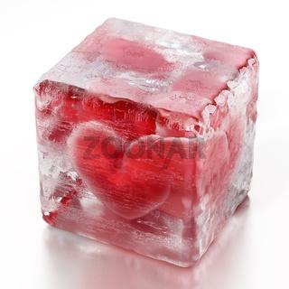 Red heart inside frozen ice cube. 3D illustration