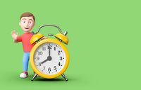 Kid 3D Cartoon Character Leaning on an Alarm Clock on Green with Copy Space