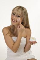 Blonde woman lotion duty