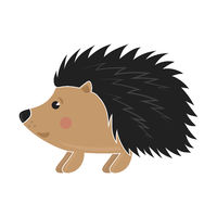 Cute Hedgehog Icon Isolated on White Background