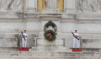 Soldiers at Victor Emmanuel II historic monument on Venetian Square. Tomb of the Unknown Soldier
