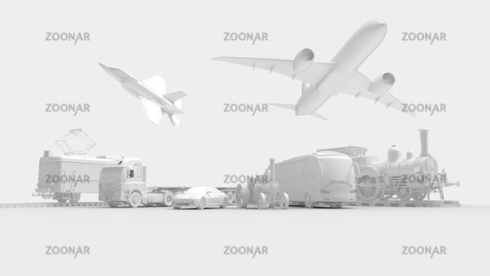 Transportation vehicles, aircraft bus train tram jet fighter jet tractor car lined up and isolated in white studio background.