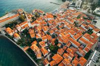 The roofs of the old town of Budva - an aerial photo from a drone.