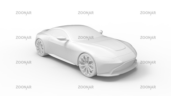 Car 3D rendering sedan, sports coupe automobile isolated on white studio background