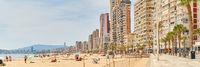 Beach of Benidorm at sunny summer day. Costa Blanca. Spain