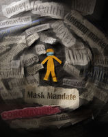 Masked paper cutout person with Mask Mandate news headline and surrounded by COVID related headlines