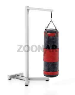 Boxing sandbag hanging on the chain. 3D illustration