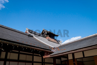 Typical Japanese roof of the temple building Tenryu-ji in Kyoto, Japan