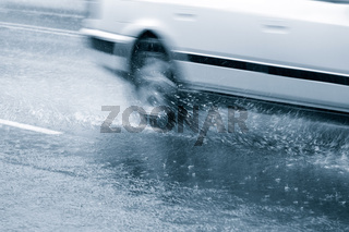 Car in a downpour