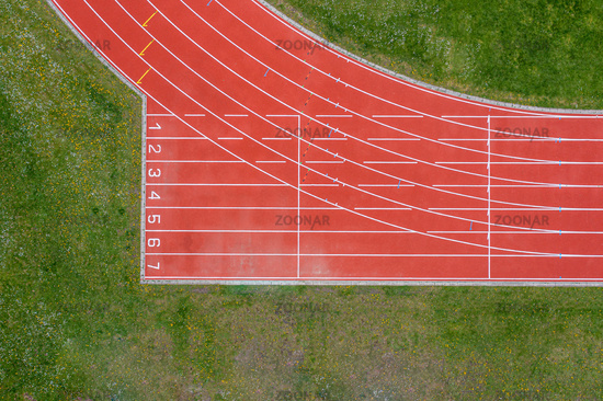 Aerial View of Red Running Track
