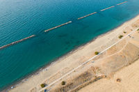 Aerial drone scenery of the coastline seascape with sandy beautiful beach. Paphos Cyprus