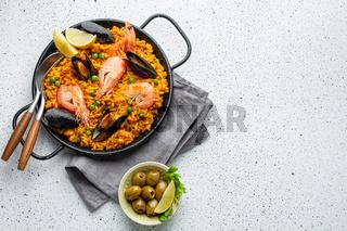 Traditional Spanish seafood paella