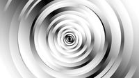 Geometric black and white circle shapes with spinning motion, computer generated. 3d rendering of abstract vortex background