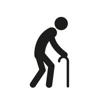 Old man with a cane, simple black silhouette icon on white