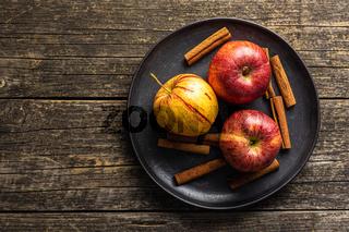 Fresh autumn apples on plate
