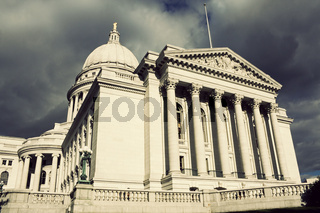 State Capitol Building in Madison before the storm