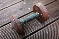 heavy steel dumbbell close-up