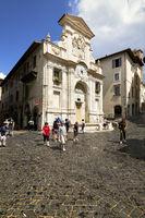 Spoleto Umbria Italy. Piazza del Mercato. Fountain with clock