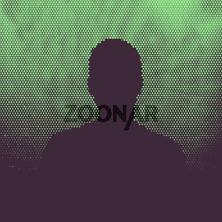 Man silhouette, halftone illustration
