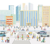 Streets in front of a big city illustration