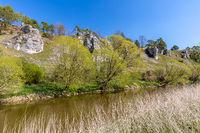 Twelve Apostles, a rock formation on Altmuehl river, Bavaria, Germany