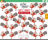 counting game of left and right pictures of cartoon Santa