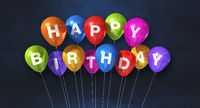 Colorful happy birthday air balloons on a black background scene. Horizontal Banner