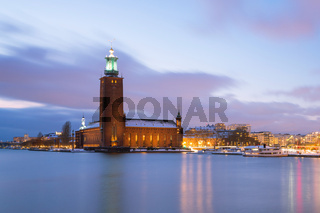 Stockholm City Hall at dusk Sweden