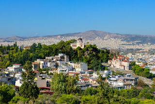 View of the city of Athens from Acropolis in Greece