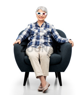 smiling senior woman in 3d glasses watching movie
