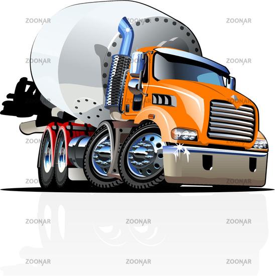 Vector Cartoon Mixer Truck