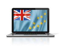 Tuvalu flag on laptop screen isolated on white. 3D illustration
