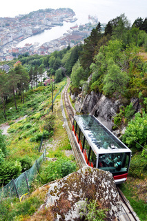 Bergen funicular and Bergen harbour in the background